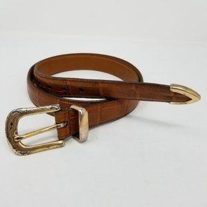 Accessories - Embossed Crocodile Print Leather Belt Distressed